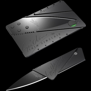 Cutit CARD, de purtat in portofel, CardSharp lama inox chirurgical 76mm